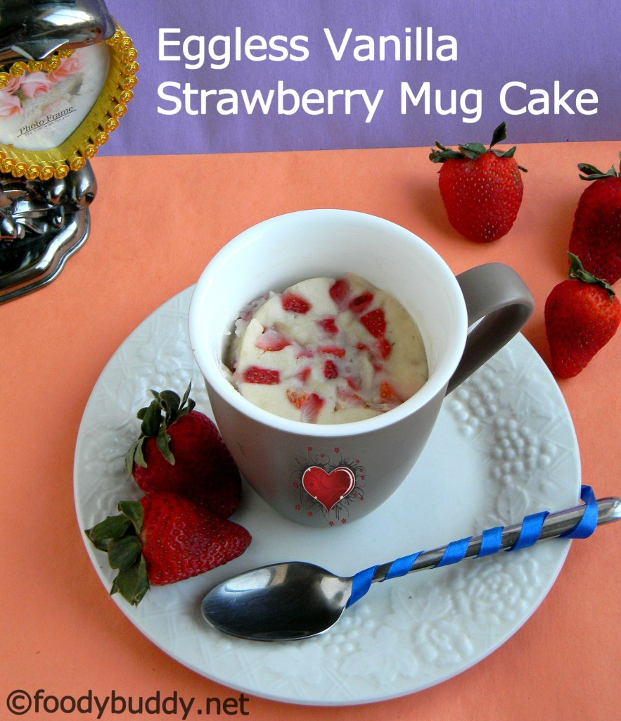 Eggless Strawberry Mug Cake