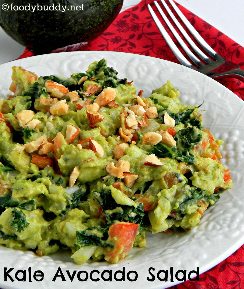 Kale Guacamole Salad Recipe / Kale avocado Salad - FoodyBuddy